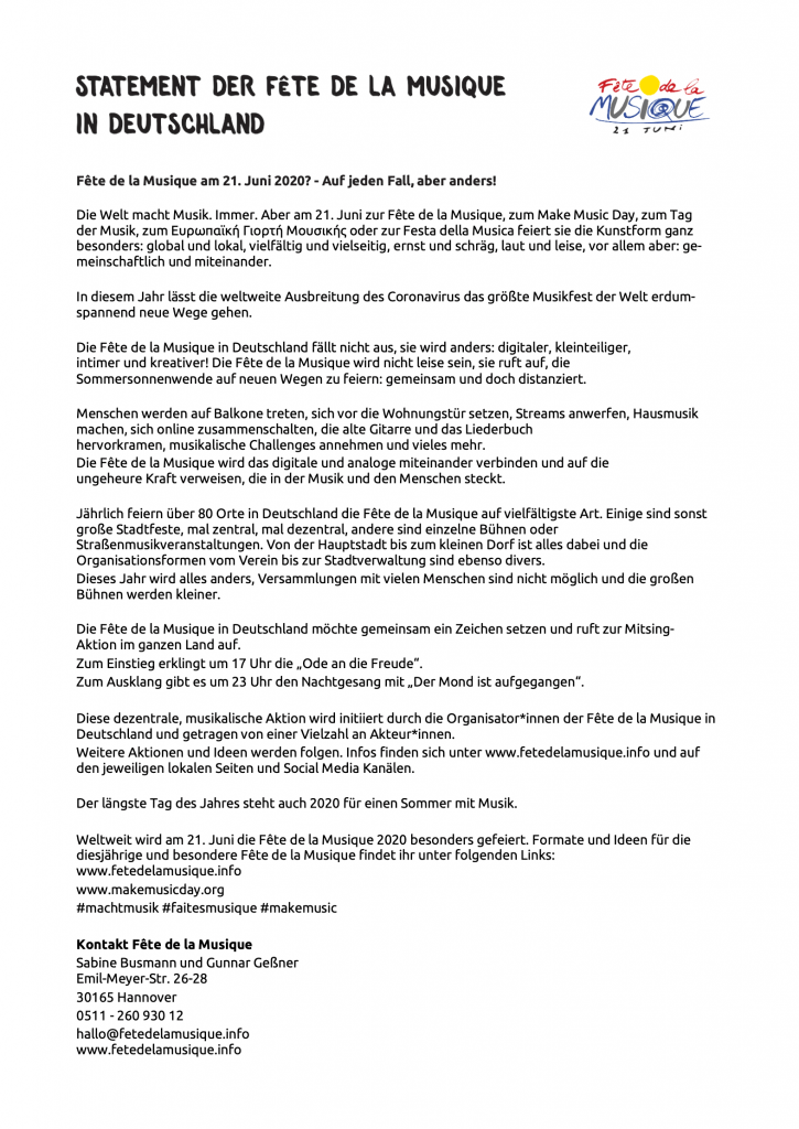Statement der Féte de la Musique in Deutschland